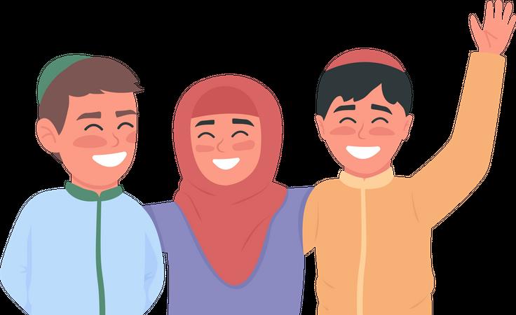 Happy arabian children flat color vector faceless characters Illustration