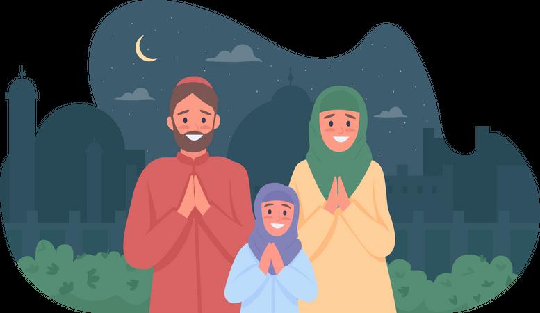 Happy Arabian family praying on Ramadan Illustration