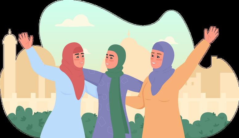Happy arabian girls in hijabs Illustration