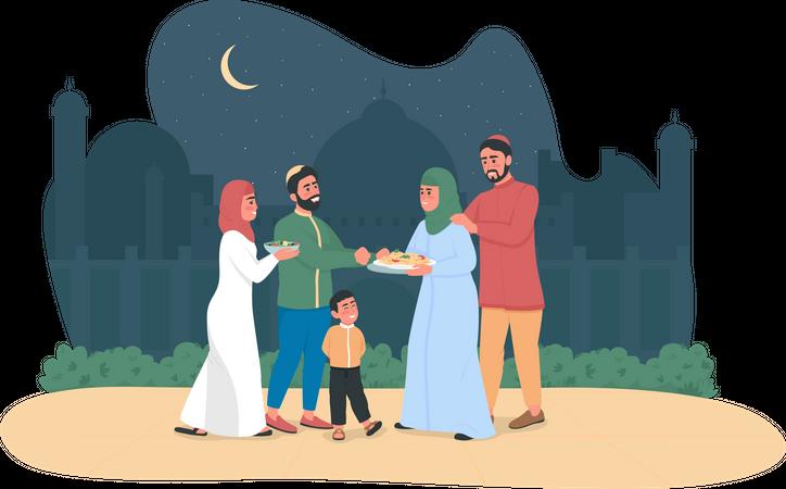 Happy Arabian people wishing each other on ramadan Illustration
