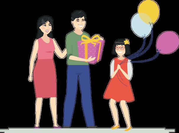 Happy birthday of girl holding balloons Illustration