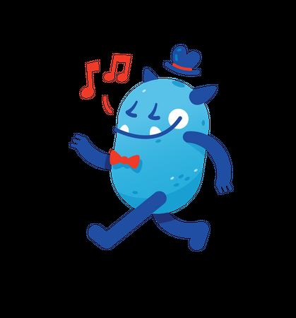 Happy Blue Elegant Monster Illustration