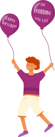 Happy boy with greeting balloons Illustration