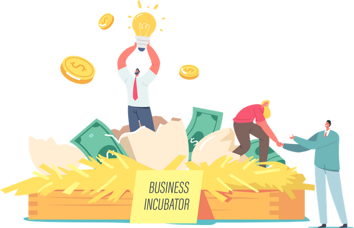 Happy Business people Extract Startup Project Illustration