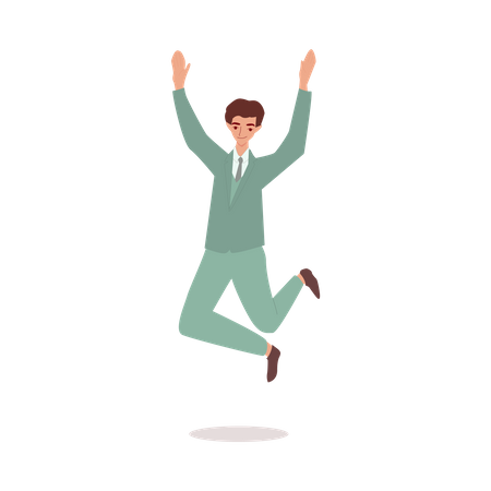 Happy businessman in suit jumping in the air Illustration