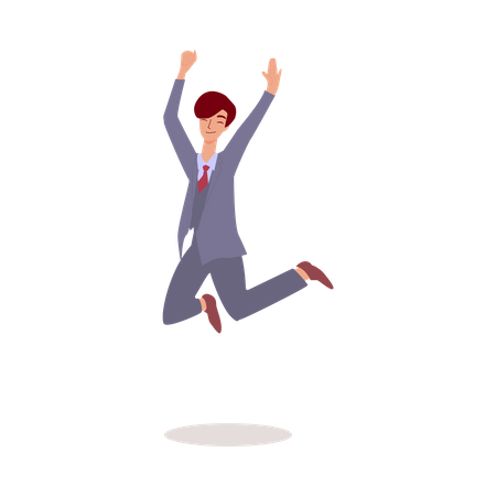 Happy businessman jumping in air Illustration