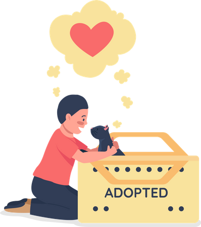 Happy Caucasian child with adopted black cat Illustration