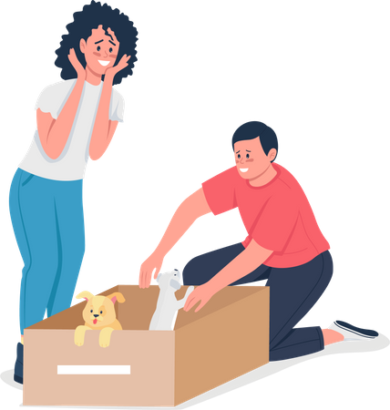 Happy Caucasian couple find homeless dogs Illustration