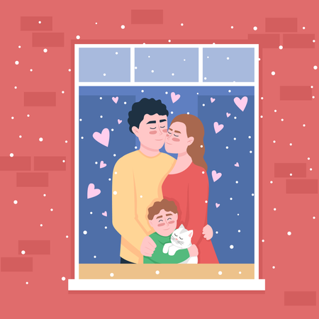 Happy family standing in home window Illustration