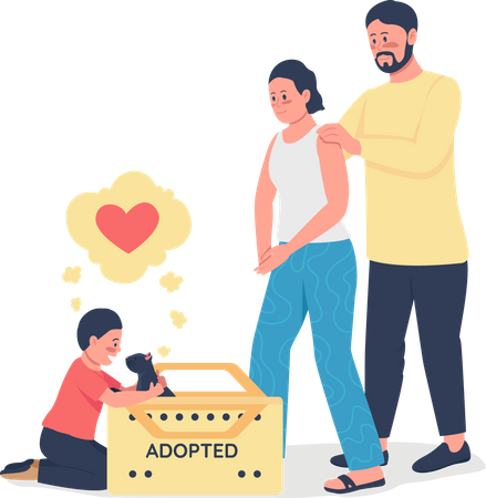 Happy Caucasian family with adopted cat Illustration