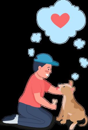 Happy Caucasian kid training dog Illustration