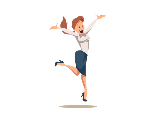 Happy Cheerful Businesswoman in Suit Jumping Up Illustration