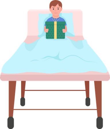 Happy child with gift in hospital bed Illustration