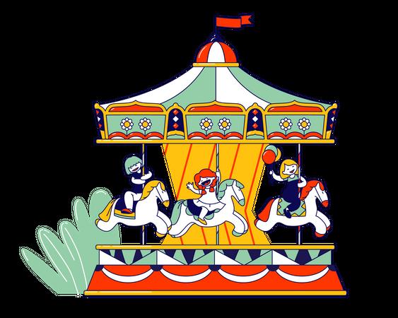 Happy Children Riding Merry-go-round Carousel in Amusement Entertainment Park Illustration
