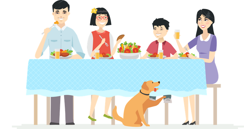 Happy Chinese family having dinner together Illustration