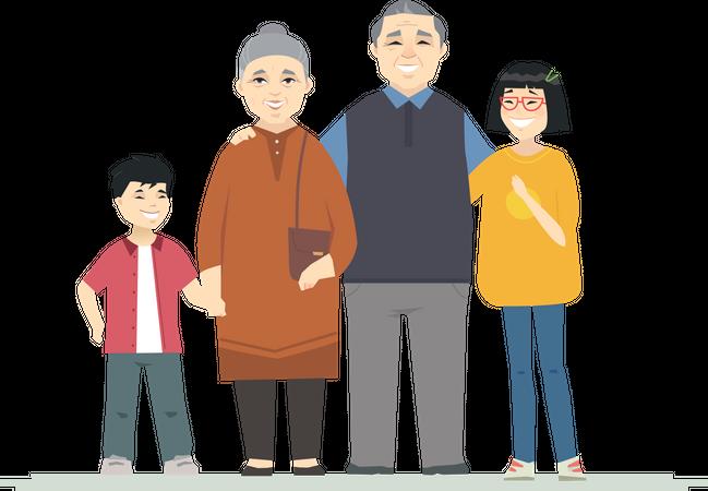 Happy Chinese grandparents Illustration