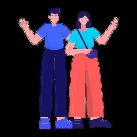 Happy couple Illustration