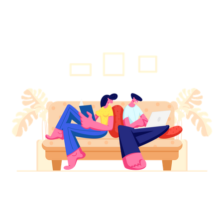 Happy Couple Relaxing Together Illustration