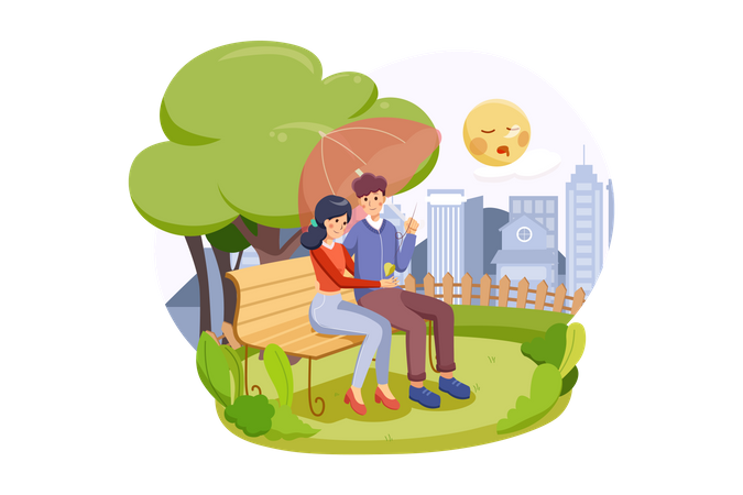 Happy couple sitting on a bench enjoy their valentine in autumn park Illustration