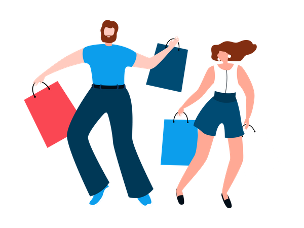 Happy couple with shopping bags Illustration
