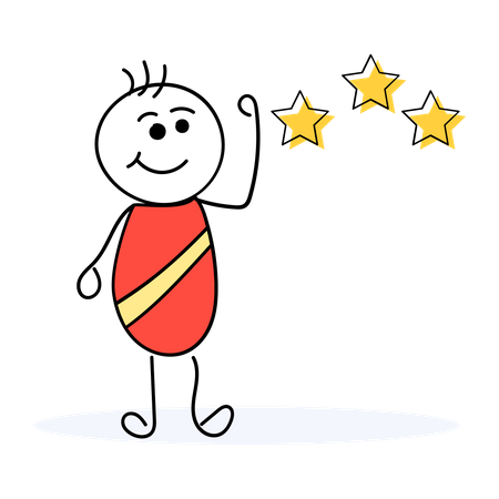 Happy customer giving rating Illustration