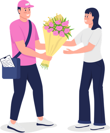 Happy delivery man give woman bouquet Illustration
