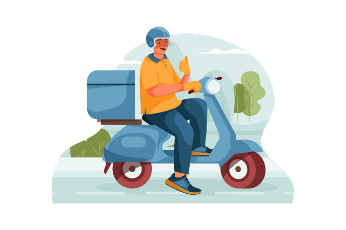 Happy delivery man on the way to delivery Illustration