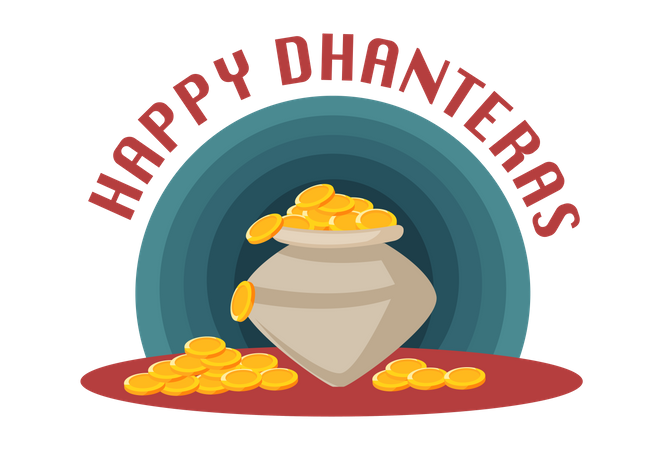 Happy Dhanteras with full of gold coins pot Illustration
