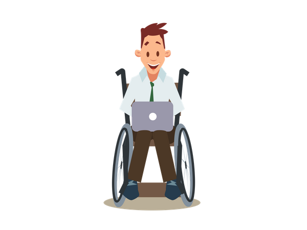 Happy Disabled Man in Wheelchair Work in Laptop Illustration