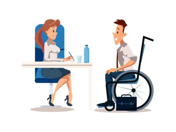 Happy Disabled Man Joined Office Illustration