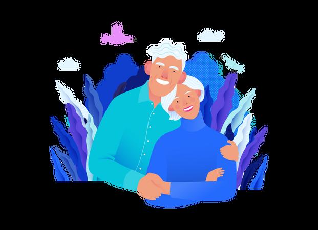 Happy Elder couple with Medical insurance Illustration