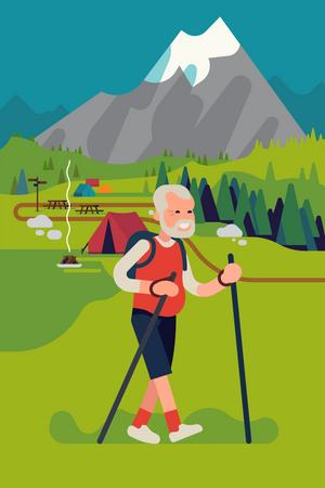 Happy elderly man hiking or trekking on mountain Illustration