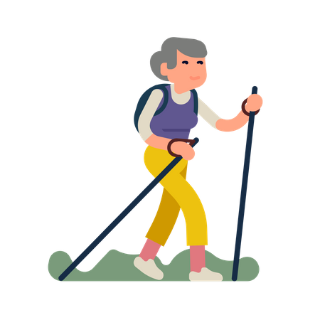 Happy elderly woman having a long walk with walking sticks hiking or trekking Illustration