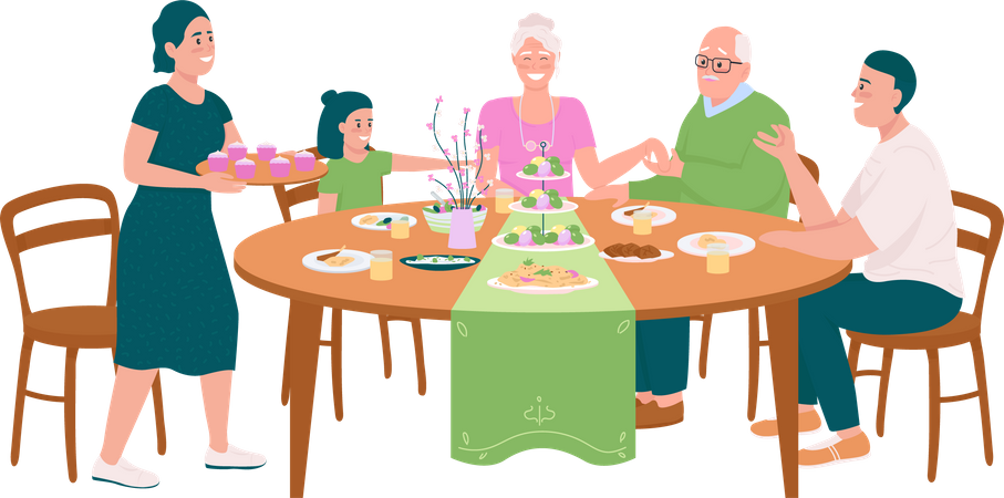 Happy family at dining table for Easter Illustration
