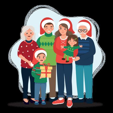 Happy family celebrating Christmas Illustration