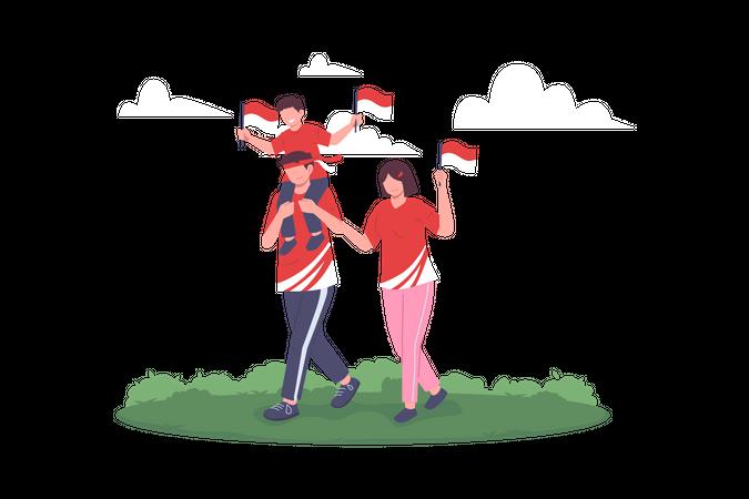 Happy Family Celebrating Indonesia Independence Day Illustration