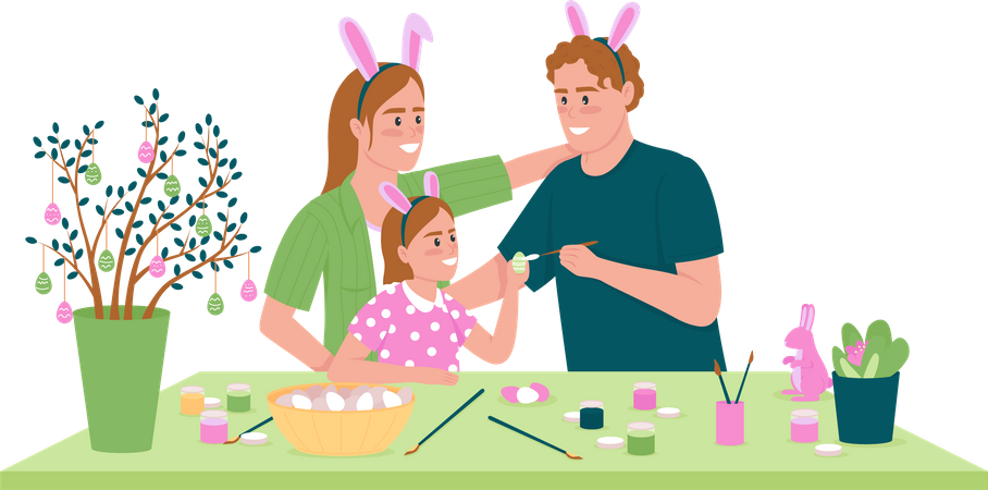 Happy family decorating Easter eggs Illustration
