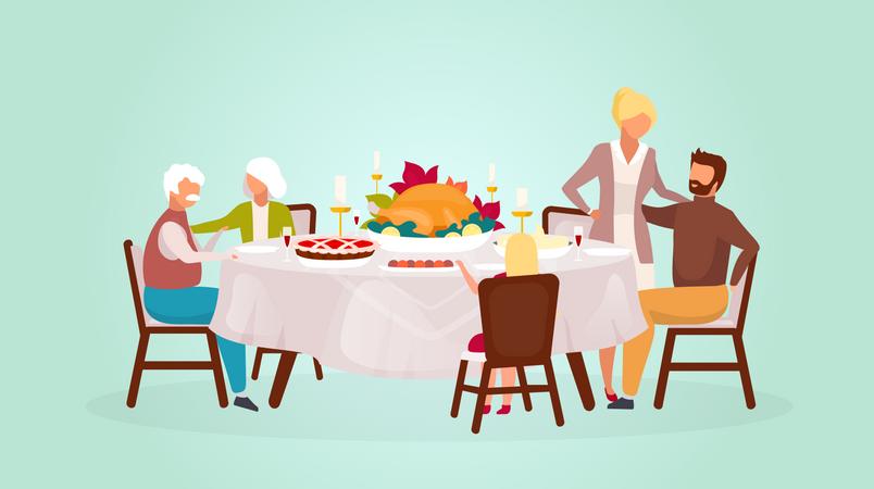 Happy family dinner Illustration