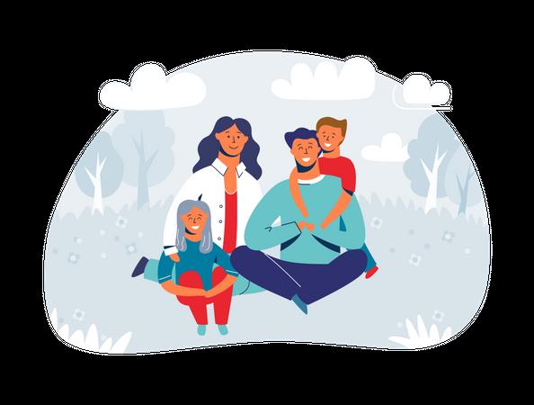 Happy Family enjoying Picnic Illustration