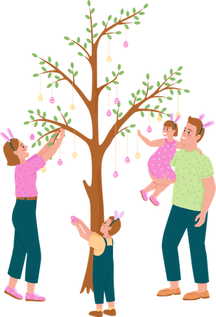 Happy family hanging Easter eggs on tree Illustration