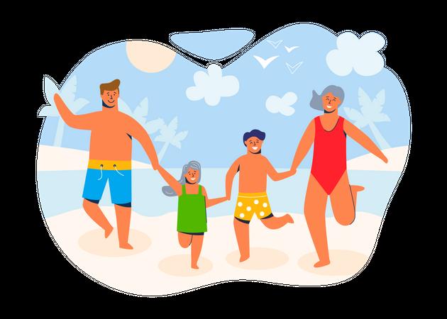 Happy family on summer vacation Illustration