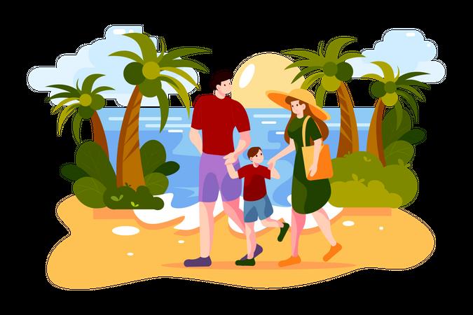 Happy family walking on the ocean beach Illustration