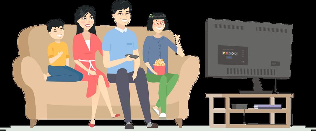 Happy family watching TV Illustration