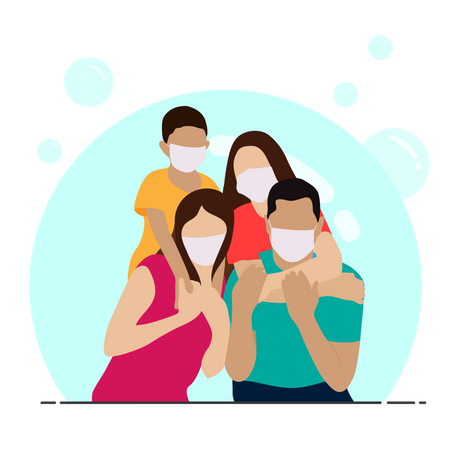 Happy family with face mask Illustration