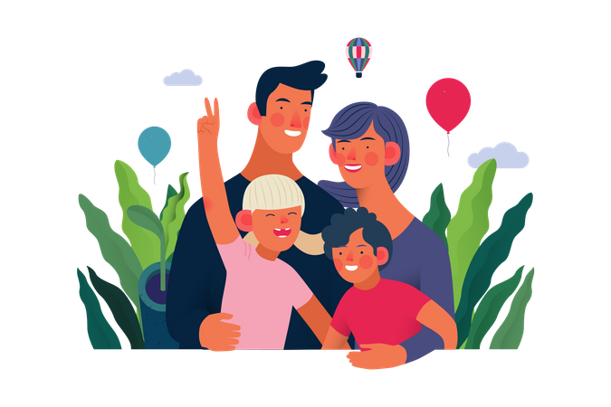 Happy Family with Medical Insurance Illustration