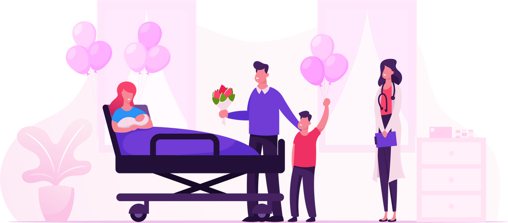 Happy Family with Newborn Baby in Chamber of Maternity Hospital Illustration