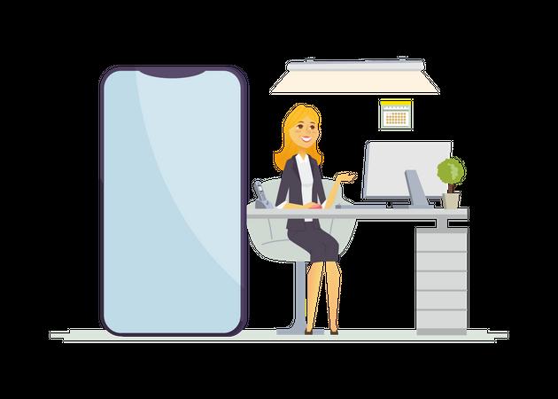 Happy female office worker Illustration