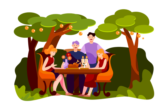 Happy friends having meat for dinner at garden party during night Illustration