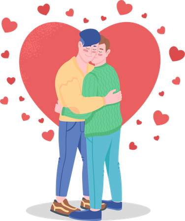 Happy gay couple in love Illustration