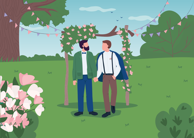 Happy gay couple on wedding day Illustration